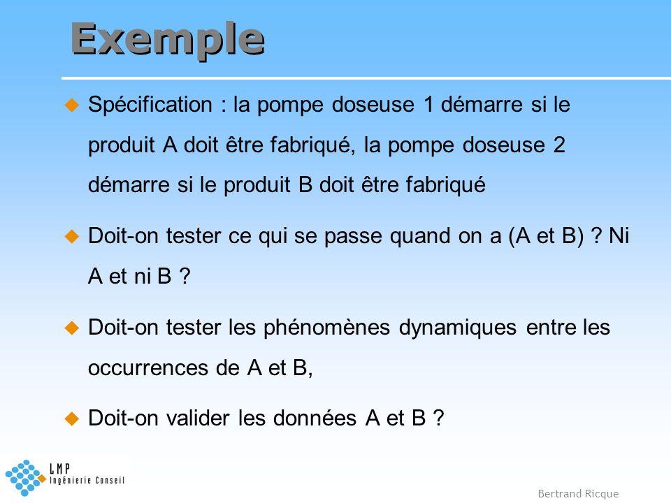 Exemple Spécification : la pompe doseuse 1 démarre si le produit A doit être fabriqué, la pompe doseuse 2 démarre si le produit B doit être fabriqué.