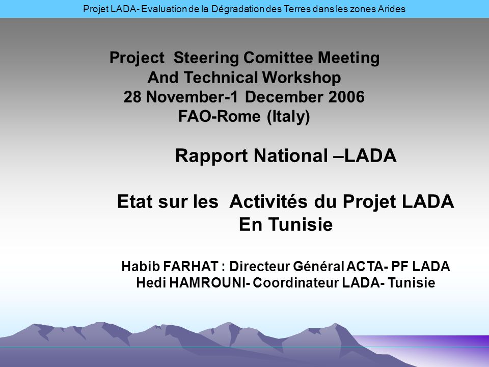Rapport National –LADA Etat sur les Activités du Projet LADA