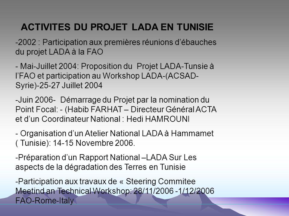 ACTIVITES DU PROJET LADA EN TUNISIE