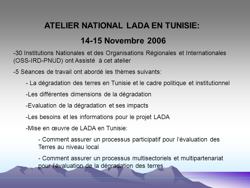 ATELIER NATIONAL LADA EN TUNISIE: