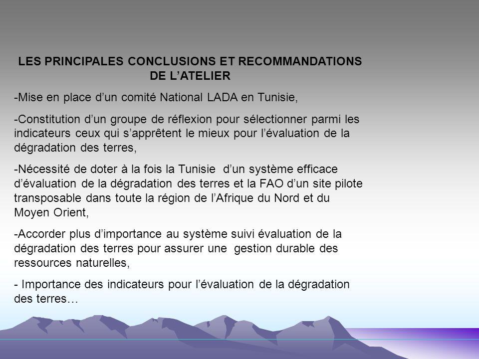 LES PRINCIPALES CONCLUSIONS ET RECOMMANDATIONS DE L'ATELIER