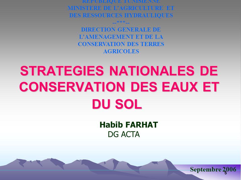 STRATEGIES NATIONALES DE CONSERVATION DES EAUX ET DU SOL