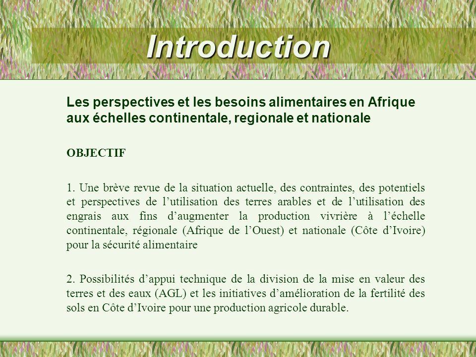 Introduction Les perspectives et les besoins alimentaires en Afrique aux échelles continentale, regionale et nationale.