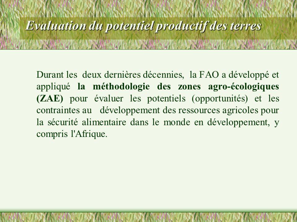Evaluation du potentiel productif des terres