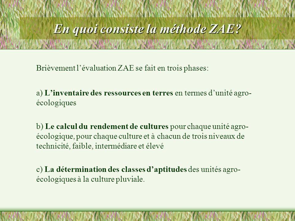 En quoi consiste la méthode ZAE