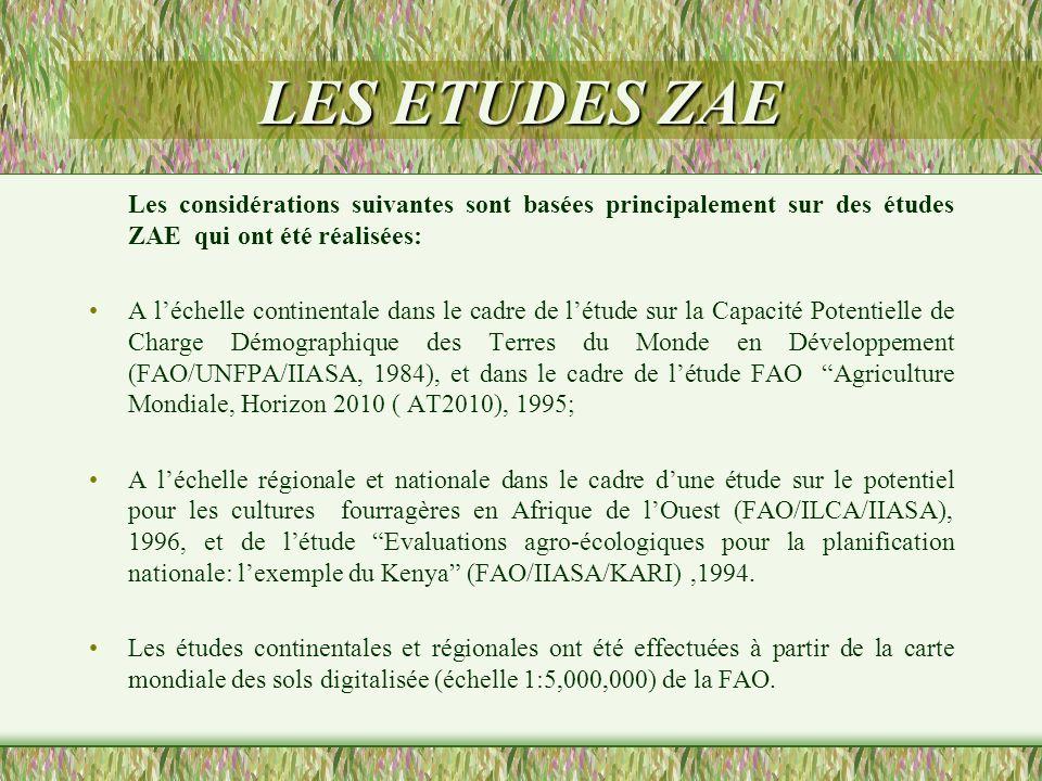 LES ETUDES ZAE Les considérations suivantes sont basées principalement sur des études ZAE qui ont été réalisées: