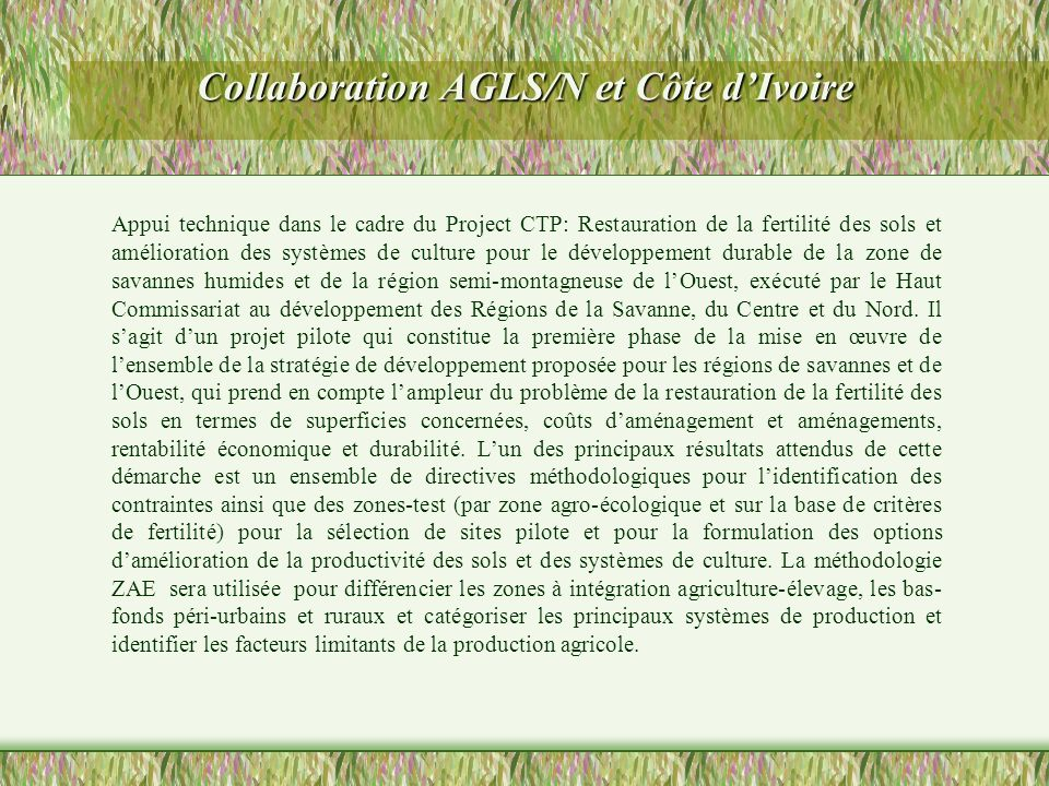 Collaboration AGLS/N et Côte d'Ivoire
