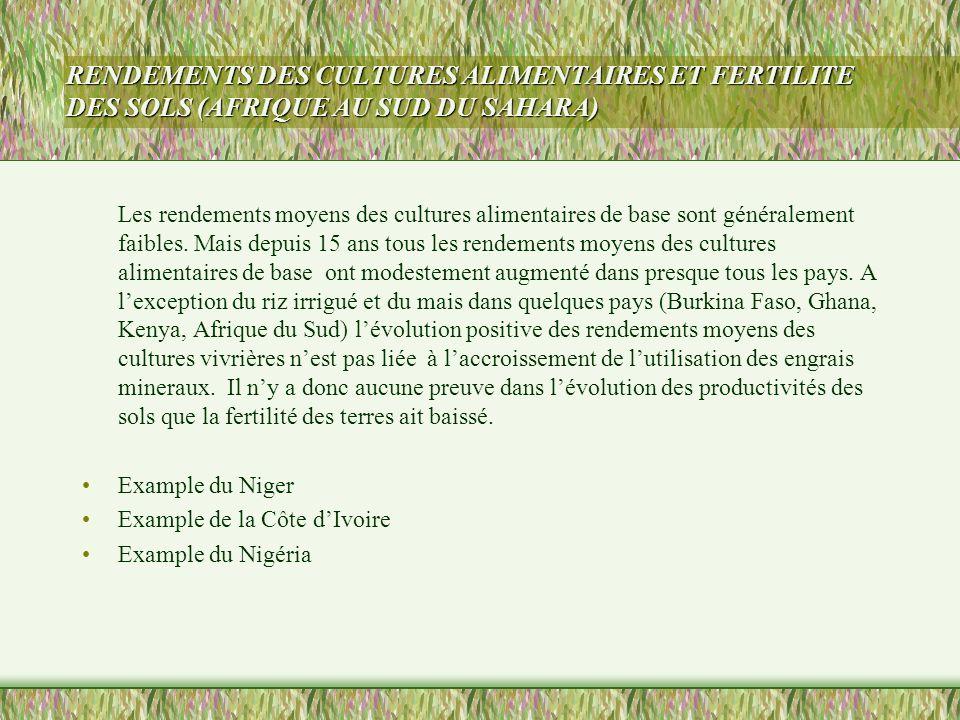 RENDEMENTS DES CULTURES ALIMENTAIRES ET FERTILITE DES SOLS (AFRIQUE AU SUD DU SAHARA)