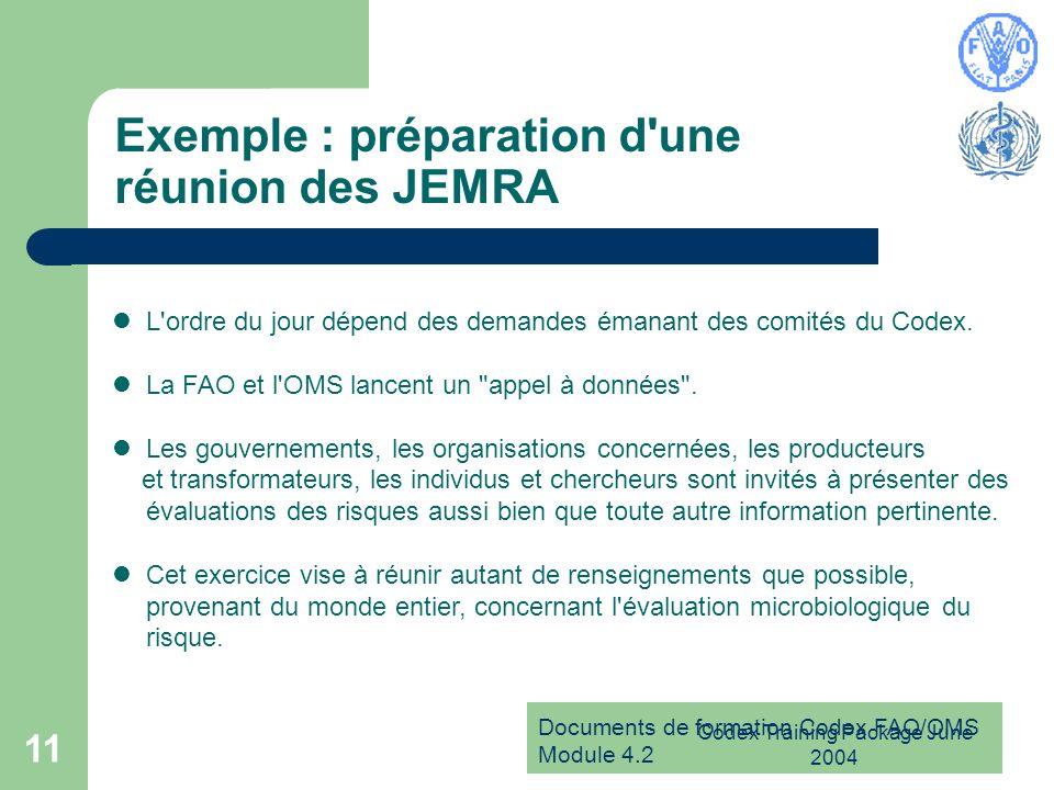Exemple : préparation d une réunion des JEMRA