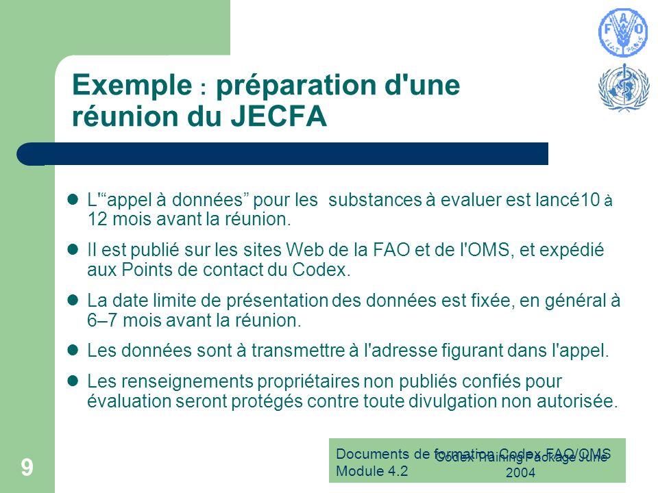 Exemple : préparation d une réunion du JECFA