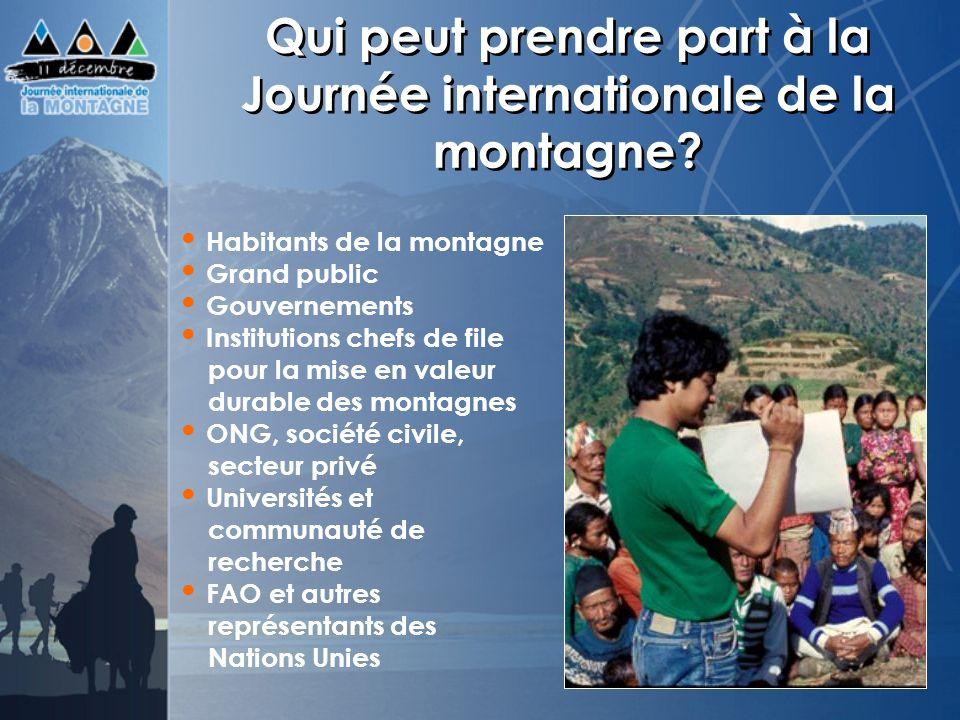 Qui peut prendre part à la Journée internationale de la montagne