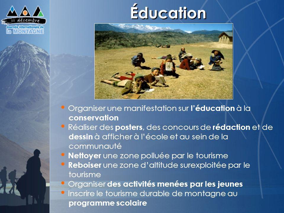 Éducation Organiser une manifestation sur l'éducation à la conservation.