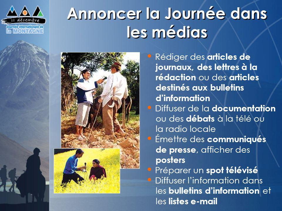 Annoncer la Journée dans les médias