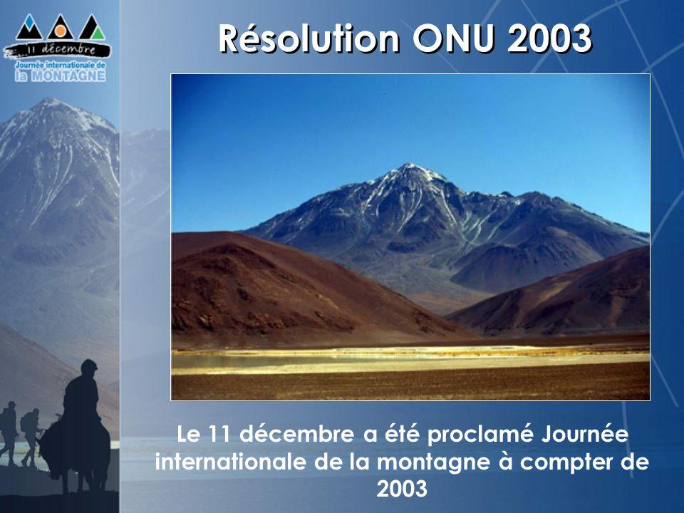 Résolution ONU 2003 Le 11 décembre a été proclamé Journée internationale de la montagne à compter de 2003.