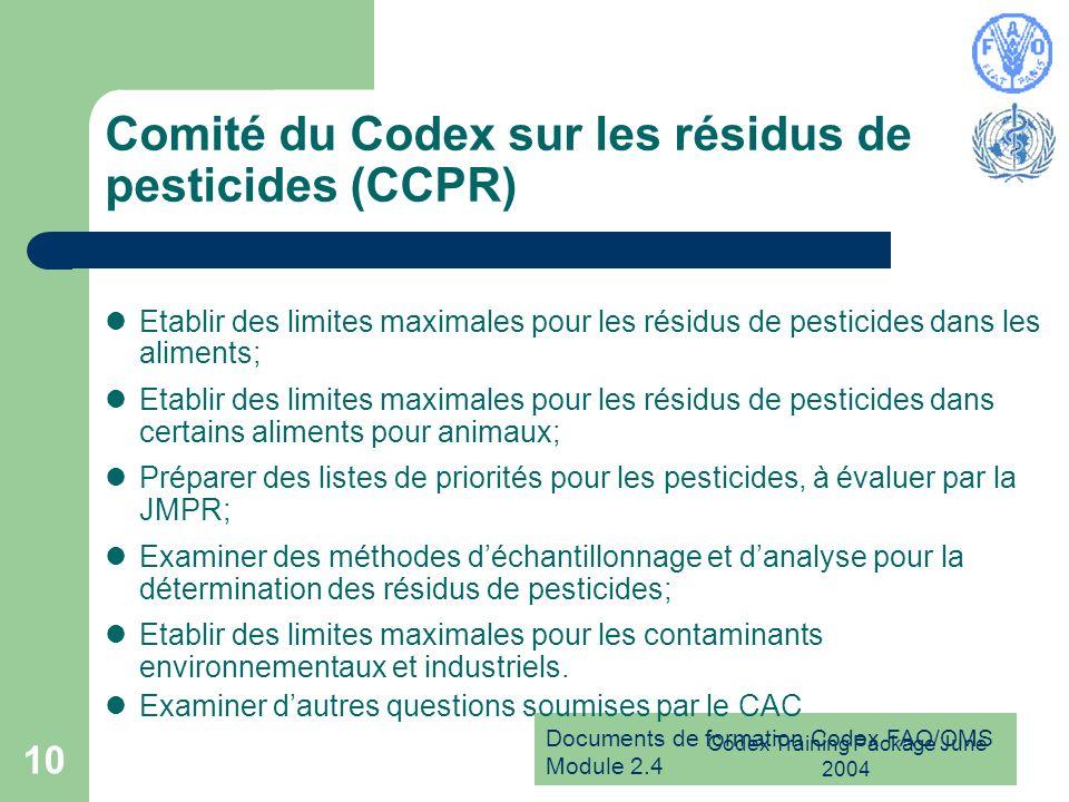 Comité du Codex sur les résidus de pesticides (CCPR)