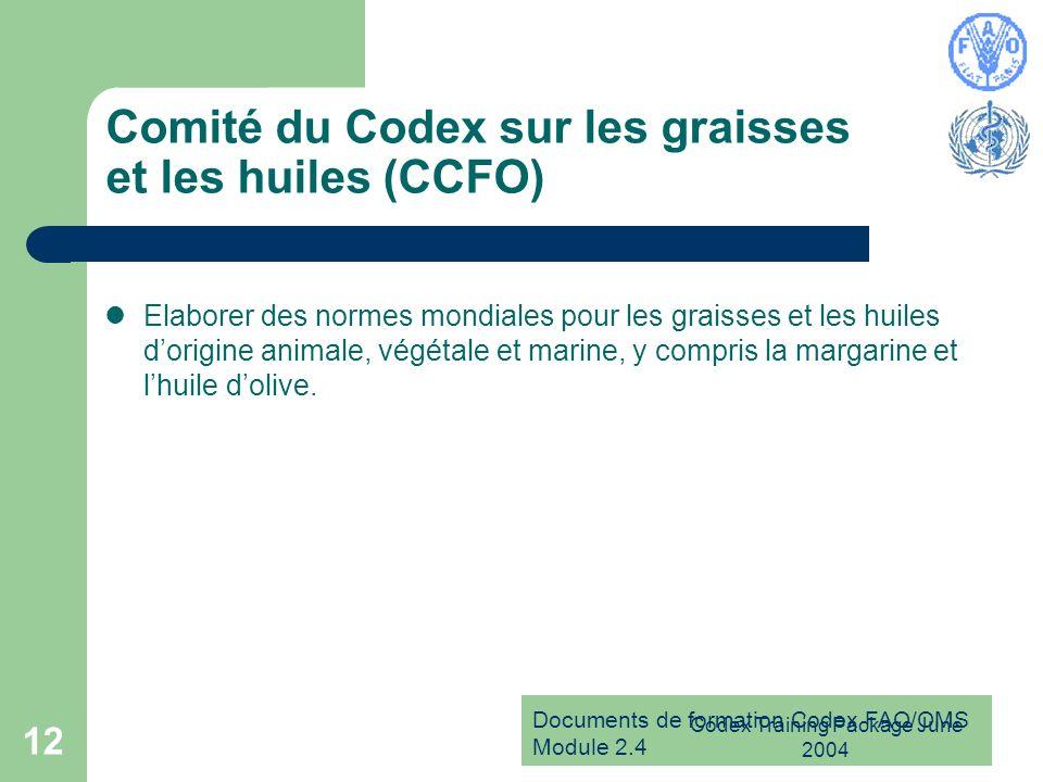 Comité du Codex sur les graisses et les huiles (CCFO)