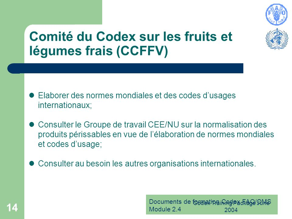 Comité du Codex sur les fruits et légumes frais (CCFFV)
