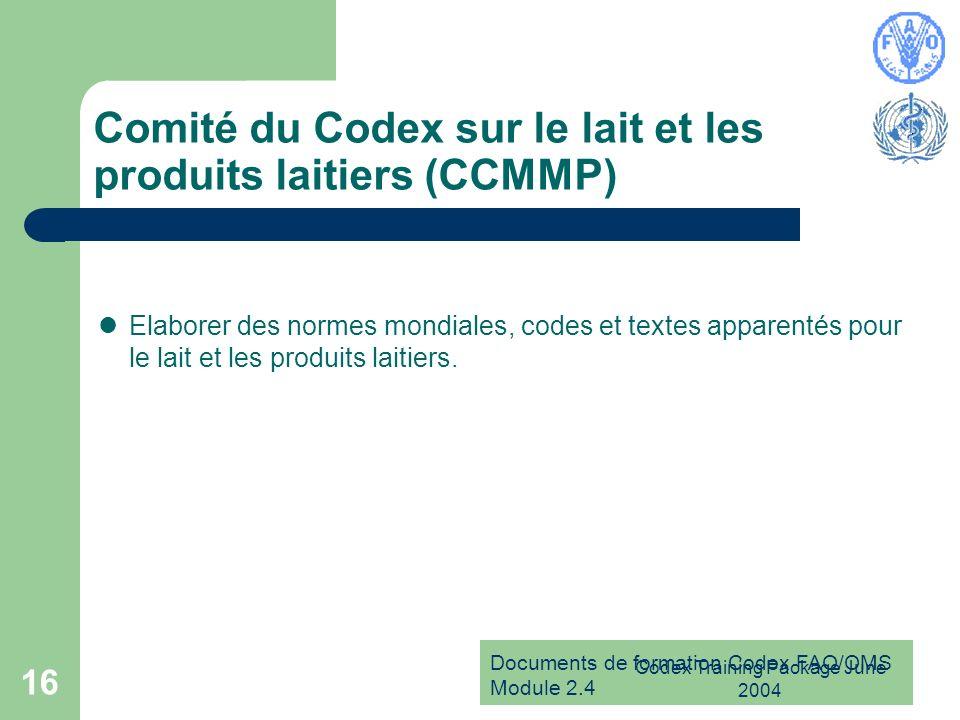 Comité du Codex sur le lait et les produits laitiers (CCMMP)