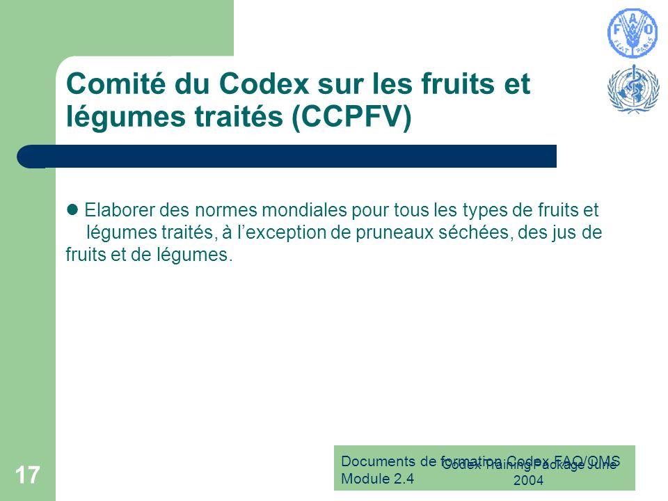 Comité du Codex sur les fruits et légumes traités (CCPFV)