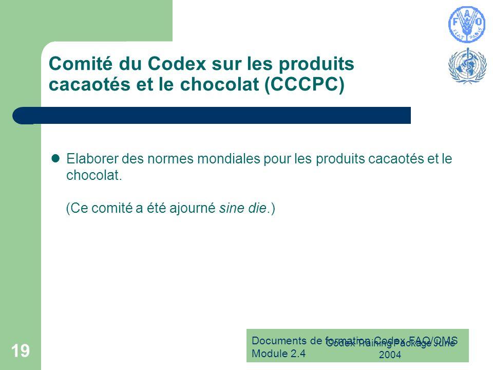 Comité du Codex sur les produits cacaotés et le chocolat (CCCPC)