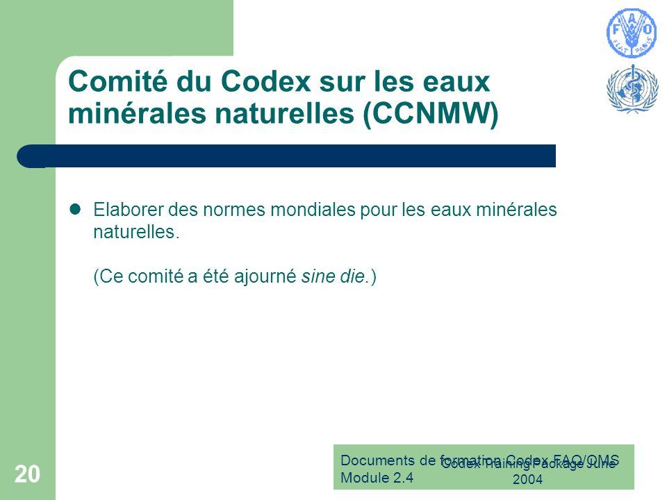 Comité du Codex sur les eaux minérales naturelles (CCNMW)