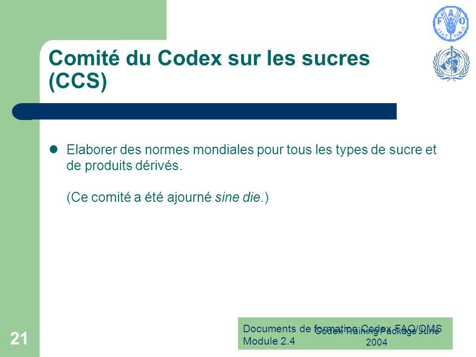 Comité du Codex sur les sucres (CCS)
