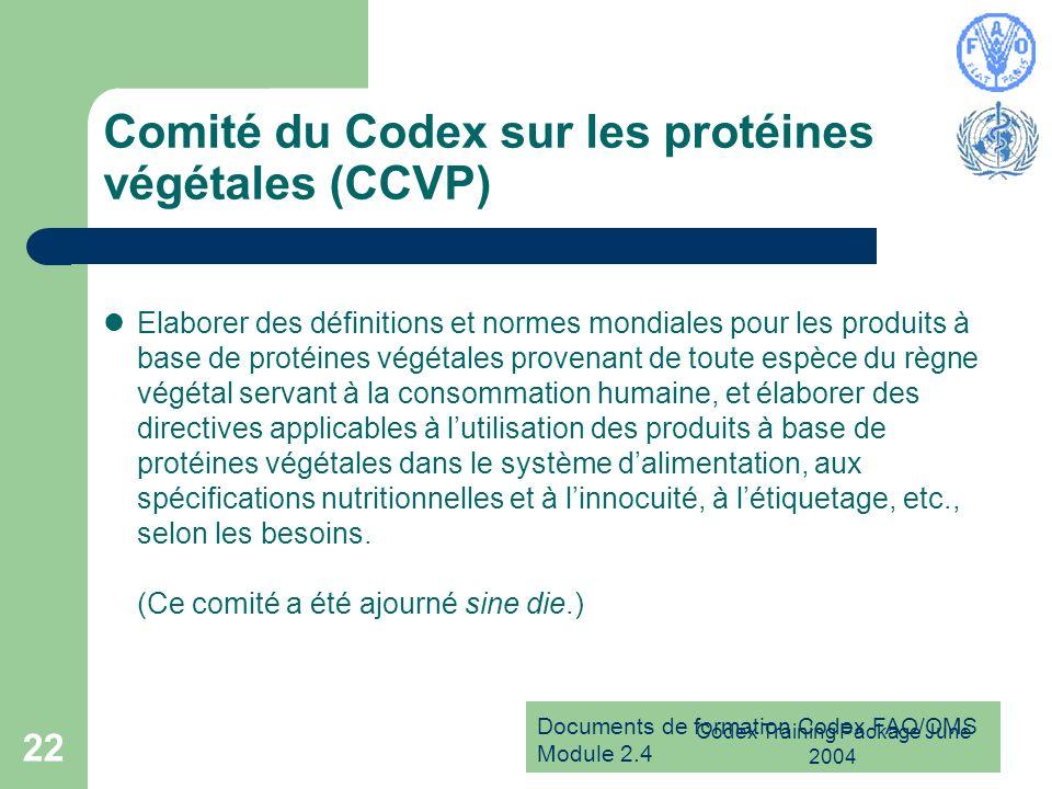 Comité du Codex sur les protéines végétales (CCVP)