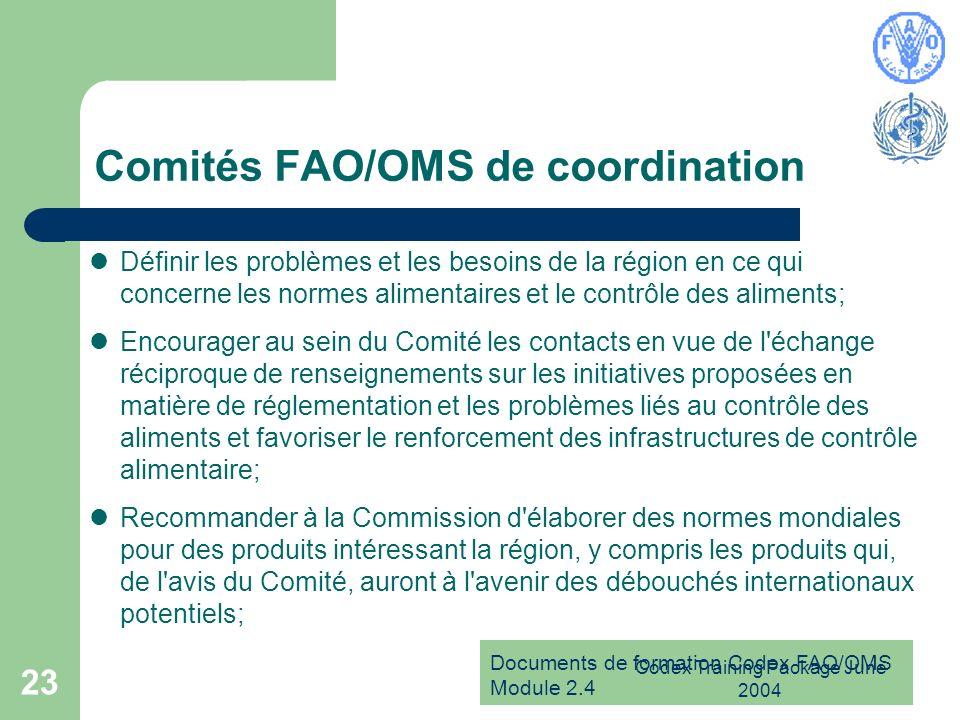 Comités FAO/OMS de coordination