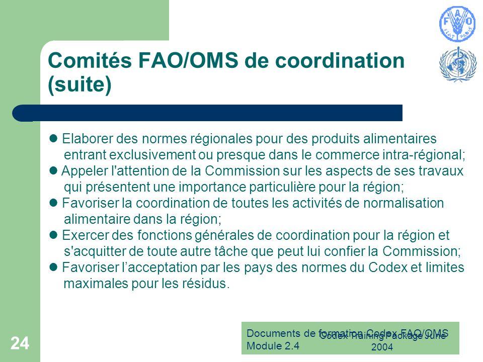 Comités FAO/OMS de coordination (suite)