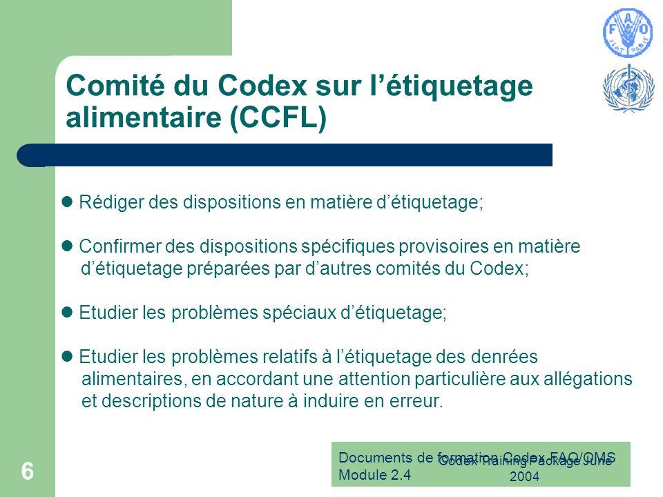 Comité du Codex sur l'étiquetage alimentaire (CCFL)