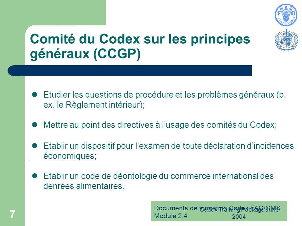Comité du Codex sur les principes généraux (CCGP)