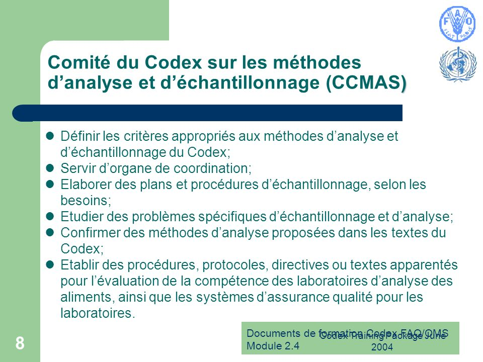 Codex Training Package June 2004