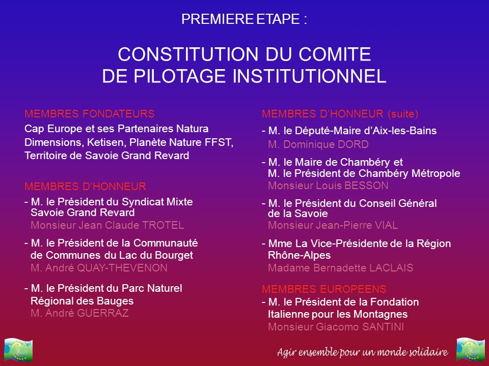 CONSTITUTION DU COMITE DE PILOTAGE INSTITUTIONNEL