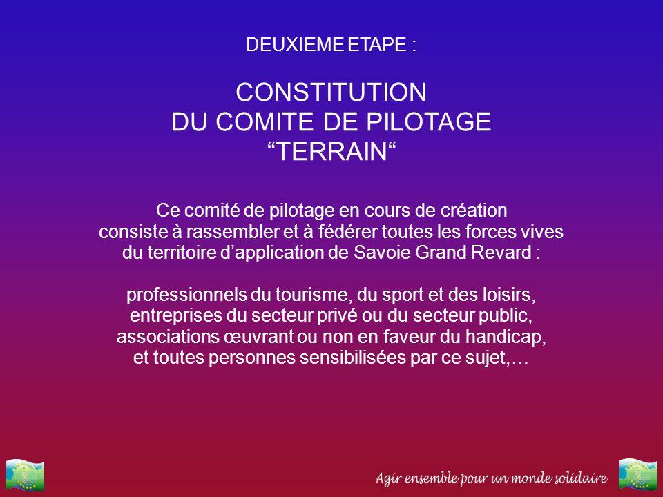CONSTITUTION DU COMITE DE PILOTAGE TERRAIN DEUXIEME ETAPE :