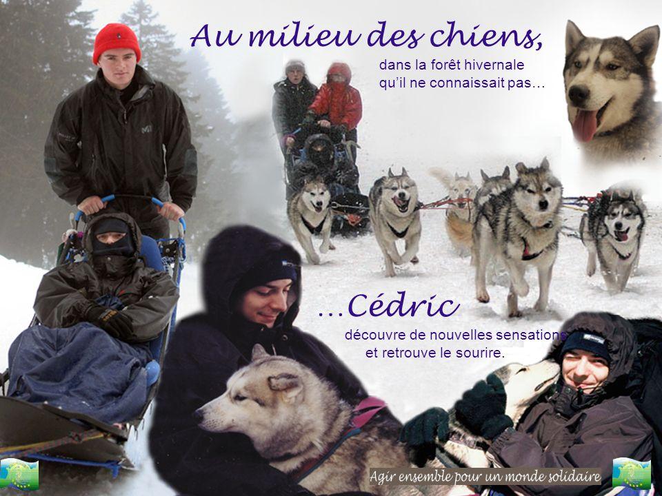 Au milieu des chiens, …Cédric dans la forêt hivernale