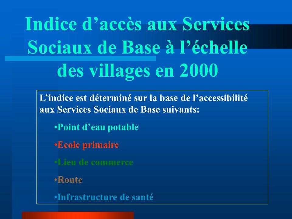 Indice d'accès aux Services Sociaux de Base à l'échelle des villages en 2000