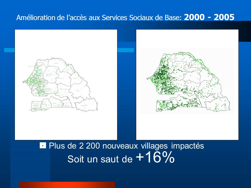Soit un saut de +16% Année 2005 Année 2000 5 887 villages