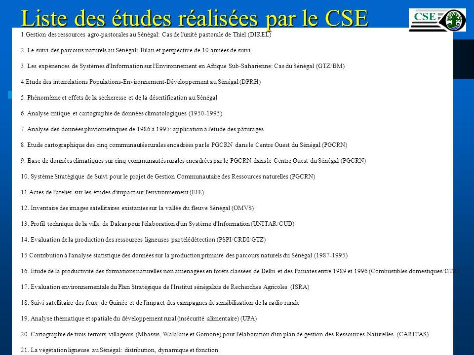 Liste des études réalisées par le CSE