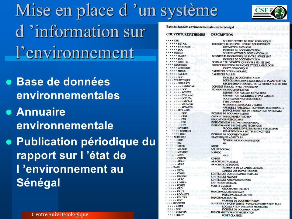 Mise en place d 'un système d 'information sur l'environnement