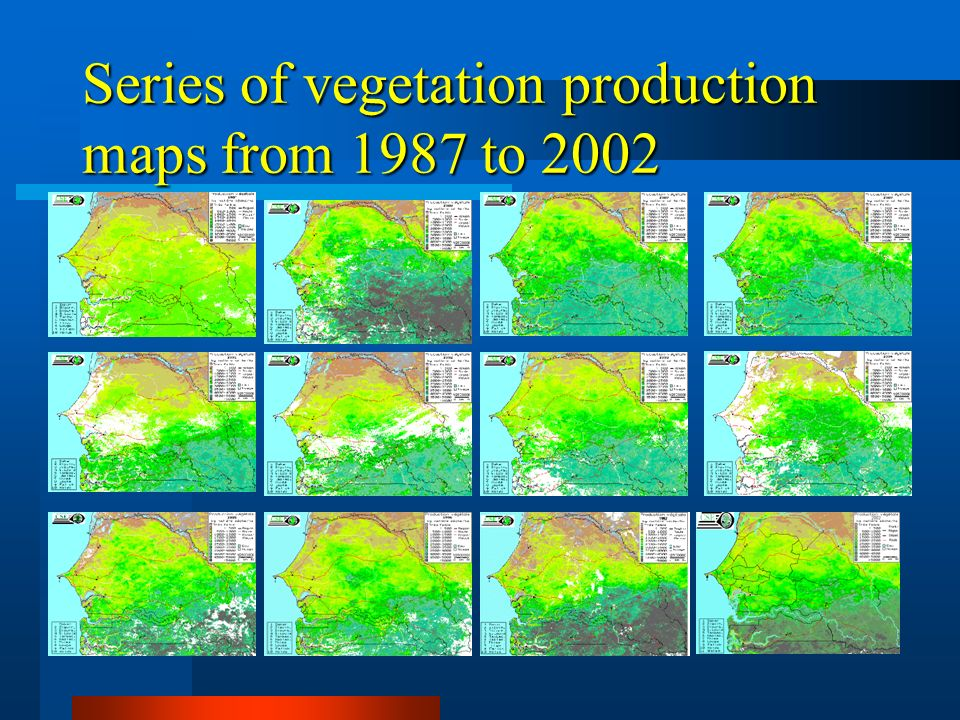 Series of vegetation production maps from 1987 to 2002