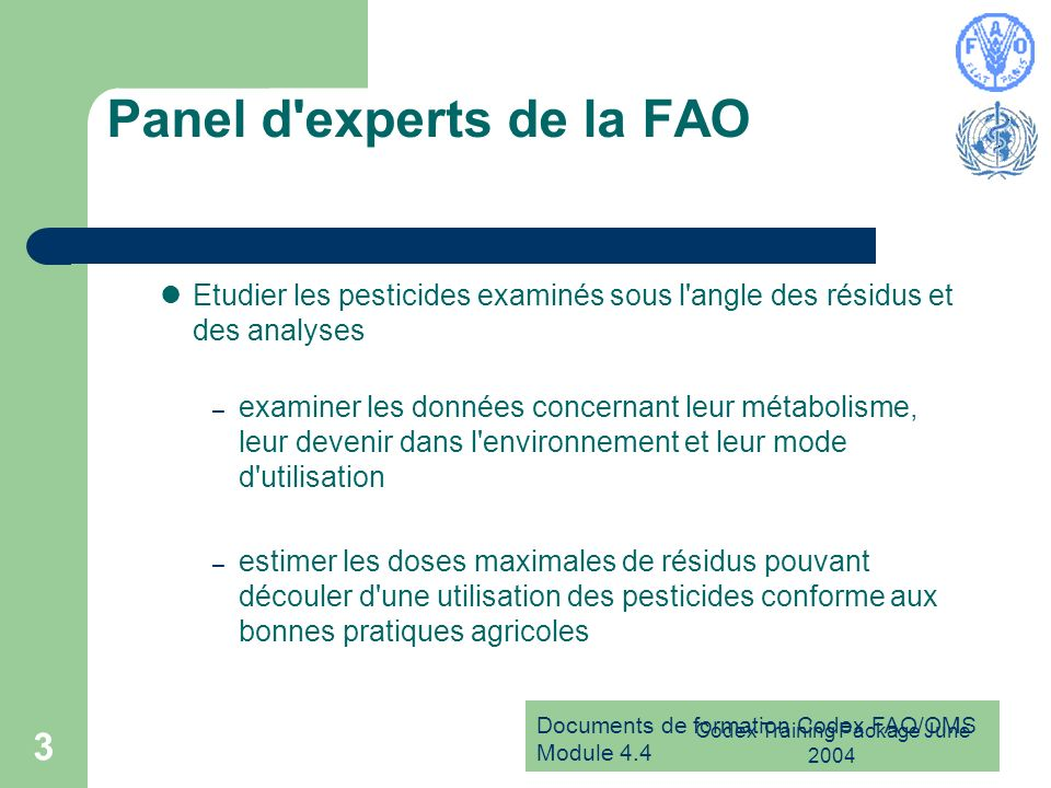 Panel d experts de la FAO