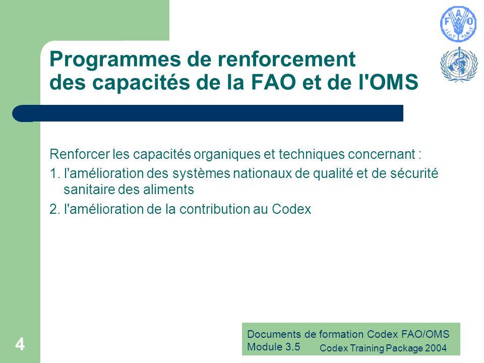 Programmes de renforcement des capacités de la FAO et de l OMS
