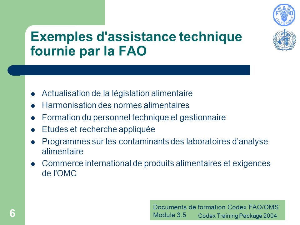 Exemples d assistance technique fournie par la FAO