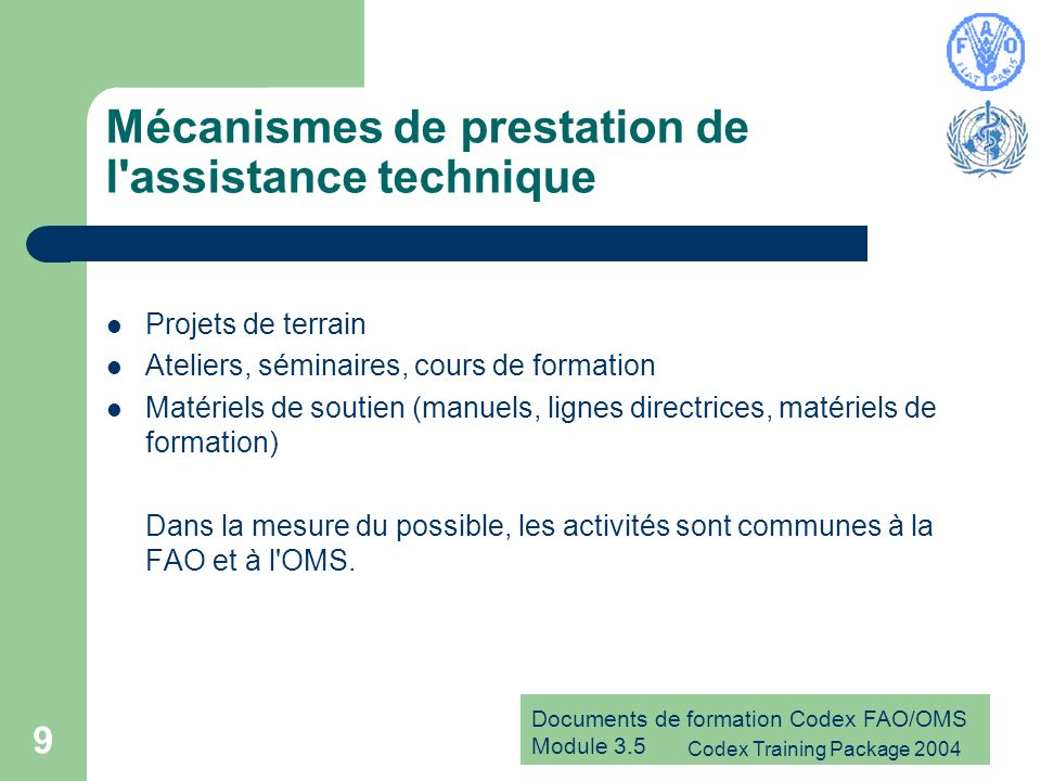 Mécanismes de prestation de l assistance technique