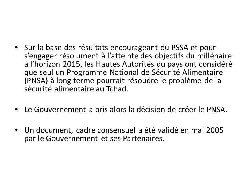 Sur la base des résultats encourageant du PSSA et pour s'engager résolument à l'atteinte des objectifs du millénaire à l'horizon 2015, les Hautes Autorités du pays ont considéré que seul un Programme National de Sécurité Alimentaire (PNSA) à long terme pourrait résoudre le problème de la sécurité alimentaire au Tchad.