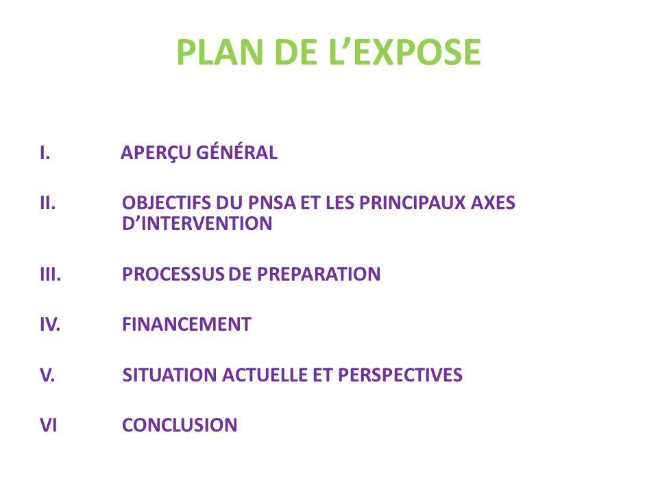 PLAN DE L'EXPOSE I. APERÇU GÉNÉRAL
