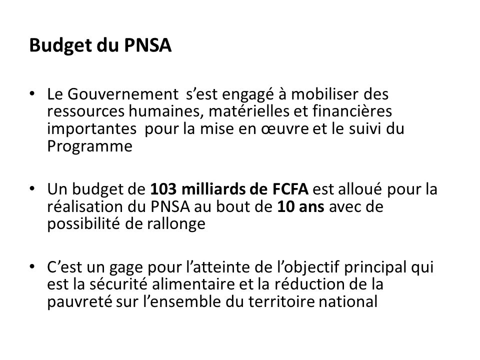 Budget du PNSA