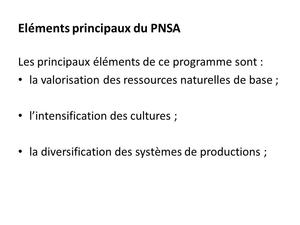 Eléments principaux du PNSA
