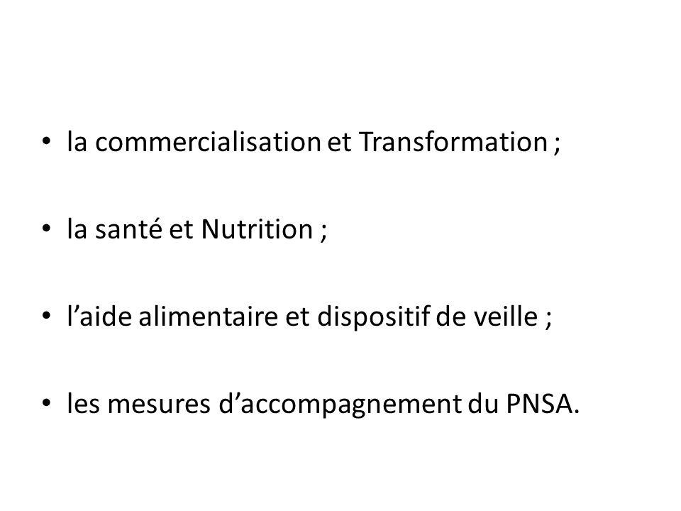 la commercialisation et Transformation ;
