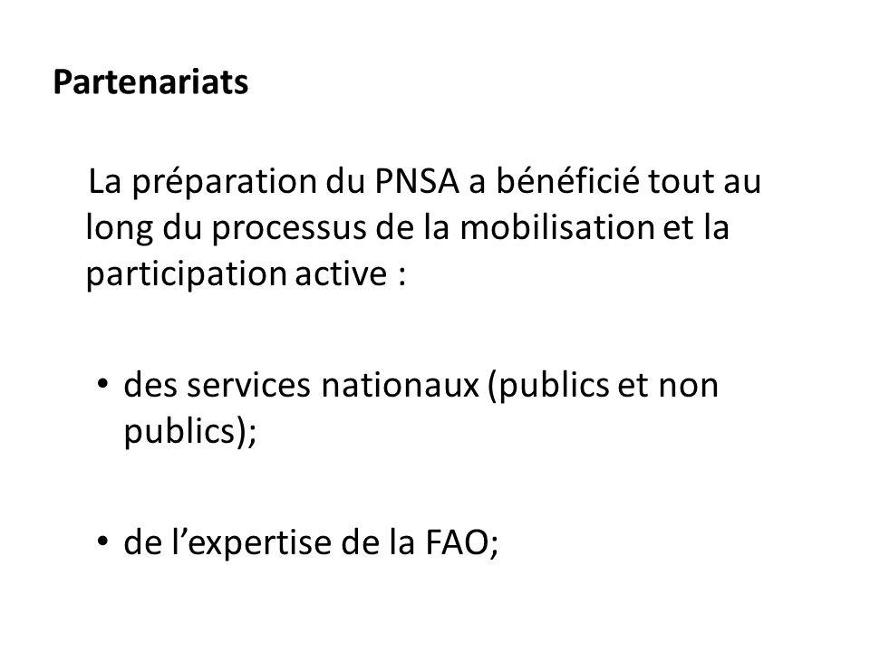Partenariats La préparation du PNSA a bénéficié tout au long du processus de la mobilisation et la participation active :